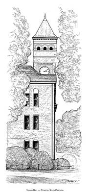 Clemson Drawing - Tillman Hall by Greg Joens