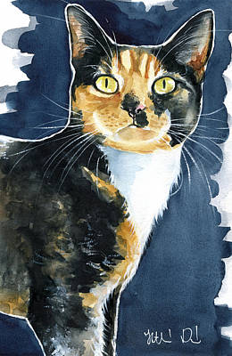 Painting - Tilly Calico Cat Painting by Dora Hathazi Mendes