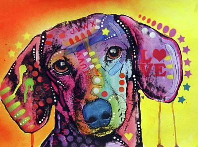 Dachshund Wall Art - Painting - Tilt Dachshund Love by Dean Russo Art