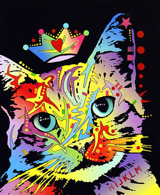 Tilted Cat Crowned Print by Dean Russo