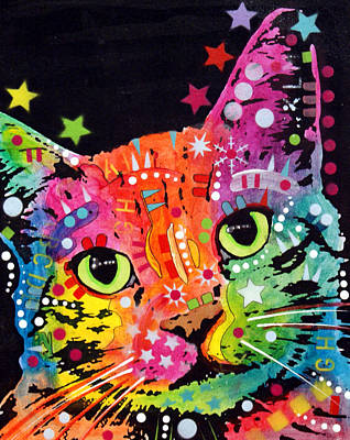 Cat Wall Art - Painting - Tilted Cat Warpaint by Dean Russo Art
