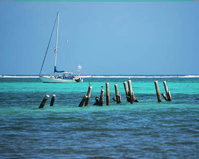 Photograph - Tilted Pilons Amergris Caye San Pedro Belize Blue Water by Toby McGuire