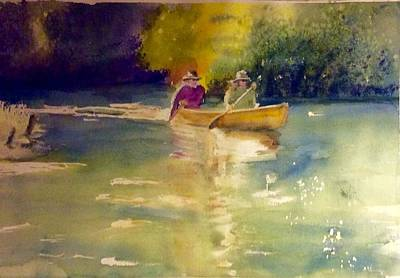 Tim Painting - Tim And Sandy On The Platte River, Michigan, Do A Complete Sweep by Diane Binder