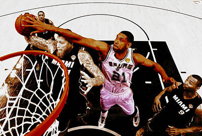 The Hills Mixed Media - Tim Duncan And Birdman by Brian Reaves