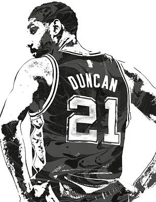 Tim Mixed Media - Tim Duncan San Antonio Spurs Pixel Art 2 by Joe Hamilton
