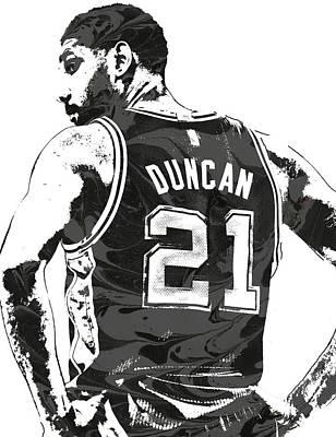 Tim Duncan San Antonio Spurs Pixel Art 2 Art Print by Joe Hamilton