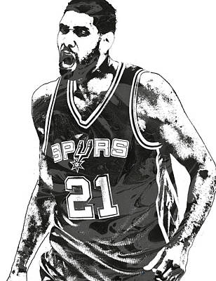 Tim Mixed Media - Tim Duncan San Antonio Spurs Pixel Art 3 by Joe Hamilton