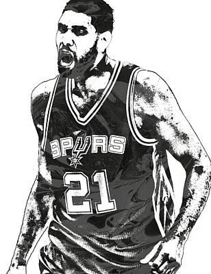 Tim Duncan San Antonio Spurs Pixel Art 3 Art Print by Joe Hamilton