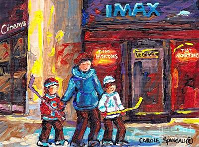Painting - Tim Horton Imax Theatre Downtown Scene Montreal 375 Original Art Canadian Painting Carole Spandau by Carole Spandau