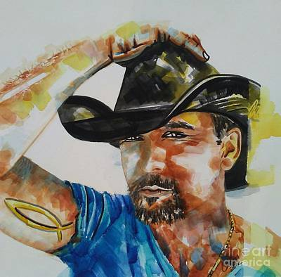 Painting - Tim Mcgraw 02 by Chrisann Ellis