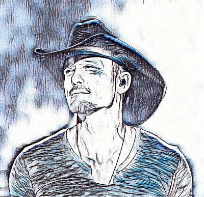 Tim Painting - Tim Mcgraw Abstract In Blue by Pd