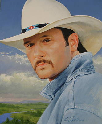 Tim Mcgraw Art Print by Cliff Spohn