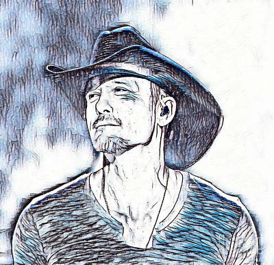 Tim Mcgraw Painting - Tim Mcgraw Portrait In Blue by Pd