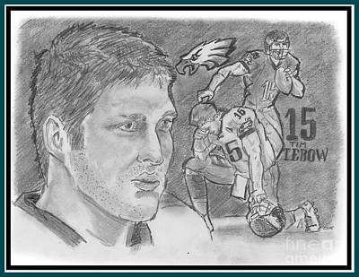 Drawing - Tim Tebow by Chris  DelVecchio
