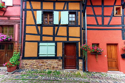 Photograph - Timbered Houses In Eguisheim Street, Alsace, France by Elenarts - Elena Duvernay photo