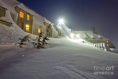 Snowy Night Photograph - Timberline Lodge Mt Hood Snow Drifts At Night by Dustin K Ryan