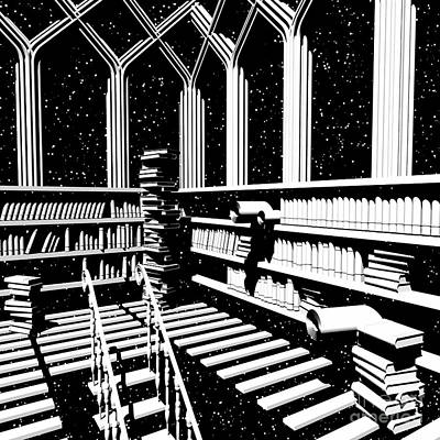 Digital Art - Time Aerials Mind Library by Russell Kightley