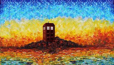 time and space traveller Box in Twilight Zone Art Print by Lugu Poerawidjaja