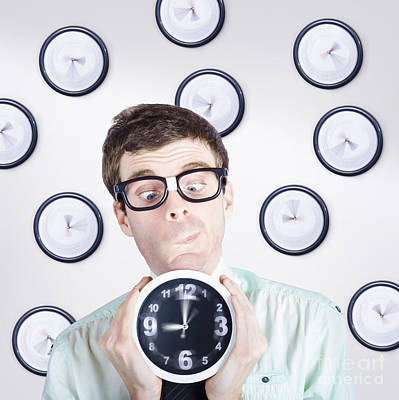 Time Concept Of A Businessman Holding Quick Clock Art Print by Jorgo Photography - Wall Art Gallery