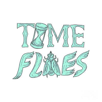Time Flies Drawing Art Print by Aloysius Patrimonio