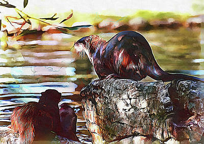 Otter Mixed Media - Time For A Rest by Dorothy Berry-Lound