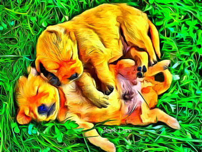 Herding Digital Art - Time For A Siesta - Da by Leonardo Digenio