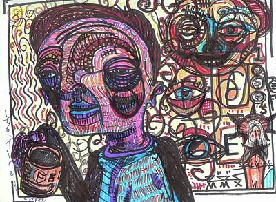 Outsider Art Mixed Media - Time For Coffee by Robert Wolverton Jr