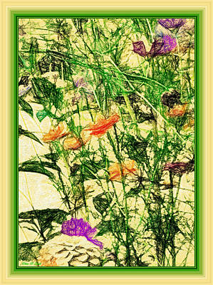 Combination Mixed Media - Time For Flowers by Debra Lynch