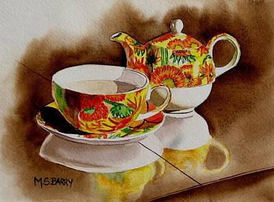 Teapot Painting - Time Out by Maria Barry