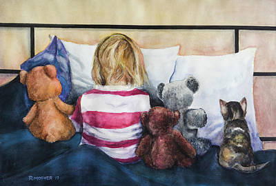 Teddy Bear Watercolor Painting - Time Out With My Friends by Rick Mosher