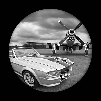 American Muscle Photograph - Time Portal - Mustang With P-51 by Gill Billington