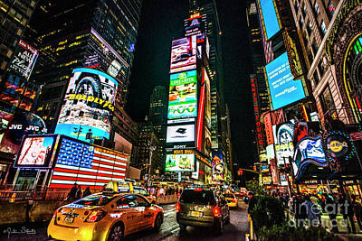 Time Square At Night Art Print by Julian Starks
