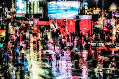 Time Square In The Rain Art Print