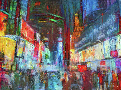 Digital Art - Time Square Nyc At Night by Yury Malkov