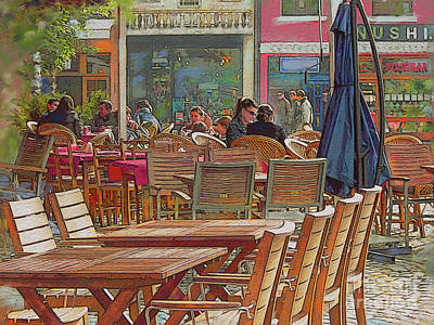 Kosovo Painting - Time Standing Outdoor Cafe by CR Leyland
