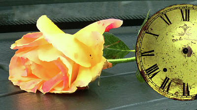 Photograph - Time To Give A Rose - Yellow And Pink Rose - Clock Face by Marie Jamieson