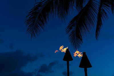 Travel Rights Managed Images - Time to Party - Tiki Torches on the Beach Royalty-Free Image by Georgia Mizuleva