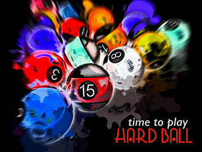 Digital Art - Time To Play Hard Ball Black by ISAW Gallery