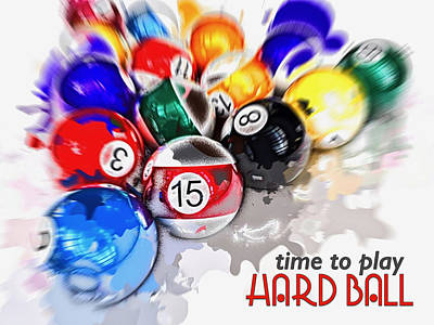 Digital Art - Time To Play Hard Ball White by ISAW Company