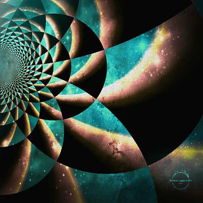 Digital Art - Time Travel Galaxy Portal To The Stars - Teal Green by Absinthe Art By Michelle LeAnn Scott