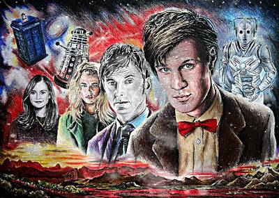 Dr. Who Wall Art - Drawing - Time Travel Space Edit Version by Andrew Read