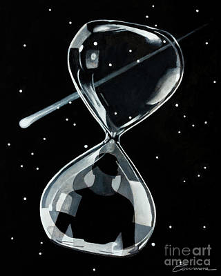 Time Traveller Through The Wormhole Of An Hourglass Art Print