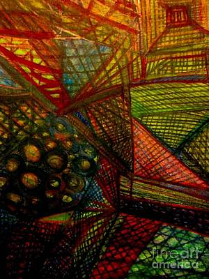 Orange Painting - Time Warp by Stephanie Zelaya