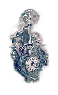 Cogs Mixed Media - Time Works by Louis Prinsloo