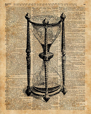 Tapestries - Textiles Mixed Media - Time,antique Hourglass,sandglas Vintage Dictionary Art by Jacob Kuch