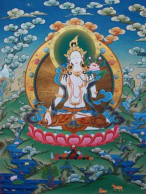 Vajrayana Painting - Timeless Beauty. White Tara by Binod Art School