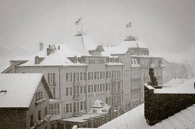 Timeless Engelberg Snow Storm In Historic Centre Of Engelberg Switzerland Art Print
