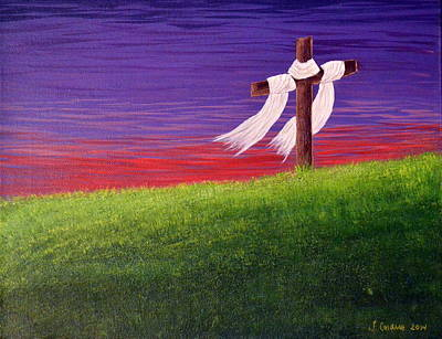 Christian Painting - Cross In Red And Purple Sunset by Tara Cordero
