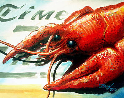 Painting - Times Picayune Crawfish by Terry J Marks Sr