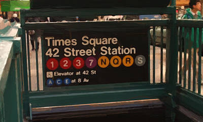 Times Square Digital Art - Times Square 42 St Station by Afterdarkness